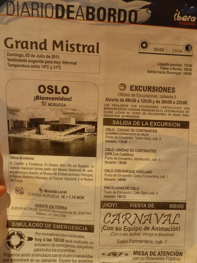 Diario de a bordo Oslo